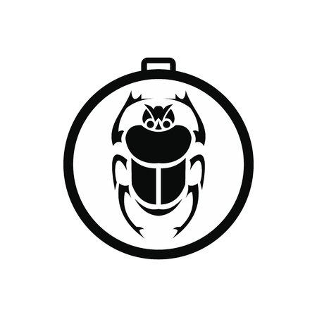 scarab: Scarab amulet icon in simple style isolated on white background