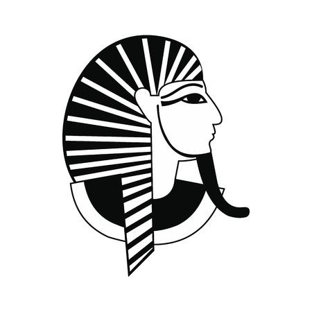 tutankhamen: Egyptian pharaoh icon in simple style isolated on white background Illustration