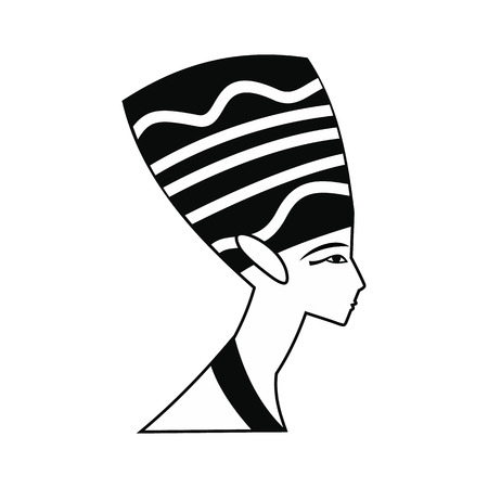 statuette: Head of Nefertiti icon in simple style isolated on white background