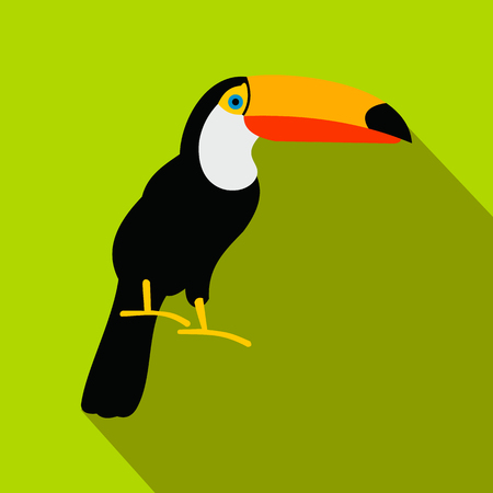 Toucan icon in flat style on a green background