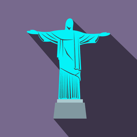 christianism: Statue of Jesus Christ, Rio de Janeiro icon in flat style on a violet background