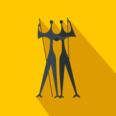law of brazil: Sculpture of Two Warriors by artist Bruno Giorgi, Brasili icon in flat style on a yellow background Illustration