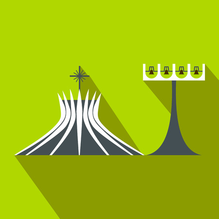 metropolitan: Metropolitan Cathedral in Brasil icon in flat style on a green background Illustration