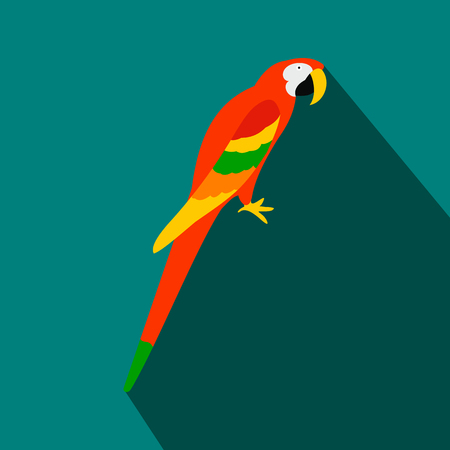 aviary: Orange brazil parrot icon in flat style on a blue background