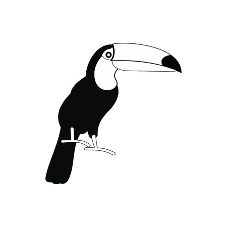 tucan: Toucan icon in simple style isolated on white background