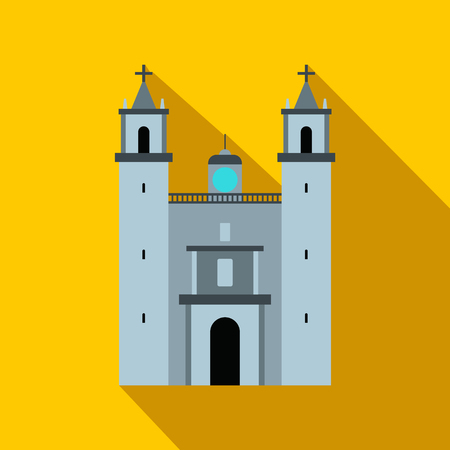 yucatan: Cathedral in Valladolid, Mexico icon in flat style on a yellow background Illustration