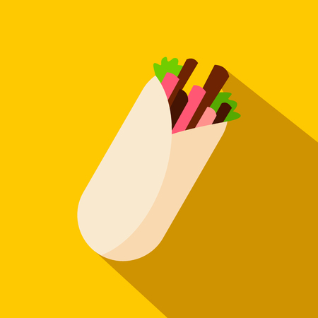 tortilla wrap: Tortilla wrap with meat and vegetables icon in flat style on a yellow background