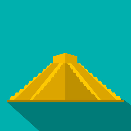 yucatan: Mayan pyramid in Yucatan, Mexico icon in flat style on a blue background Illustration