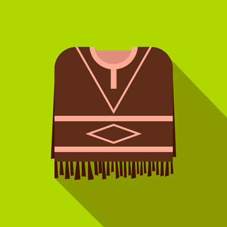 poncho: Mexican poncho icon in flat style on a green background Illustration