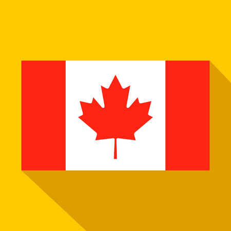Flag of Canada icon in flat style on a yellow background