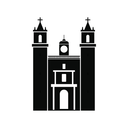 yucatan: Cathedral in Valladolid, Mexico icon in simple style isolated on white background
