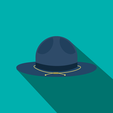 english countryside: Blue cowboy hat icon in flat style on a yellow background