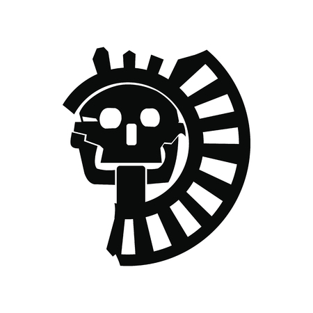 Skull the god of death of Aztecs icon in simple style isolated on white background