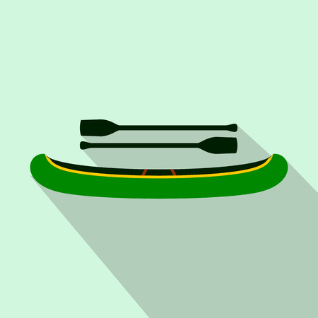 in oars: Green kayak with oars icon in flat style on a light blue background Illustration