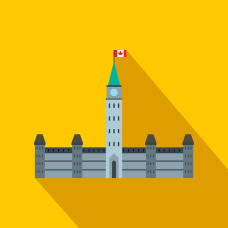 ottawa: Parliament Buildings, Ottawa icon in flat style on a yellow background Illustration