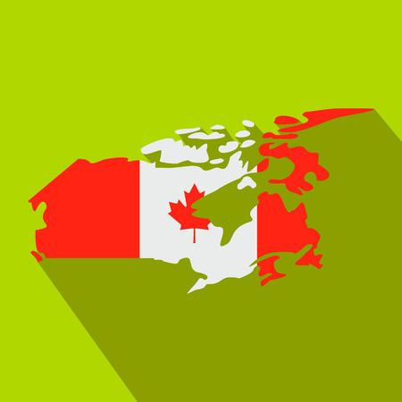 Carte du Canada avec l'image de l'icône du drapeau national dans le style à plat sur un fond vert