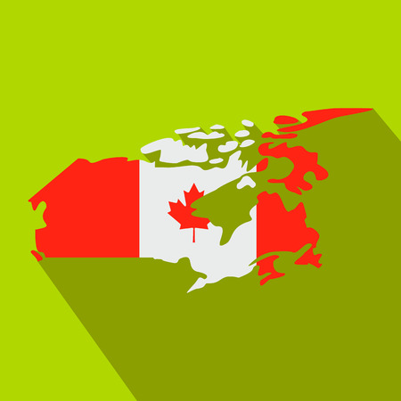 canada: Map of Canada with the image of the national flag icon in flat style on a green background Illustration