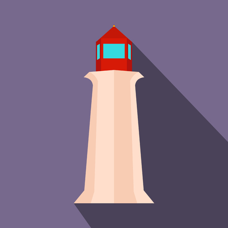 nova: Peggy Cove Lighthouse, Nova Scotia, Canada icon in flat style on a violet background