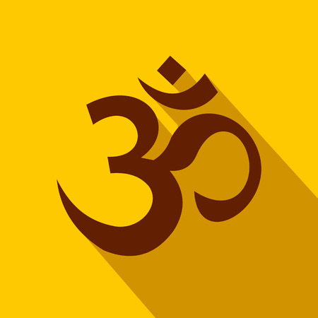 Hindu Om Symbol Icon In Flat Style On A Yellow Background Royalty