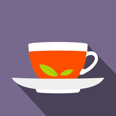 assam tea: A cup of tea icon in flat style on a violet background Illustration