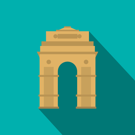 india gate: India Gate, New Delhi, India icon in flat style on a blue background