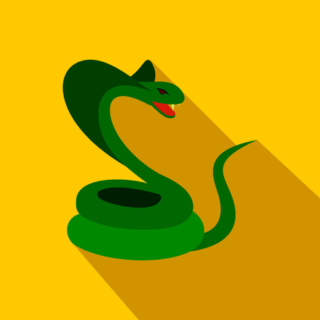 lethal: Green snake icon in flat style on a yellow background