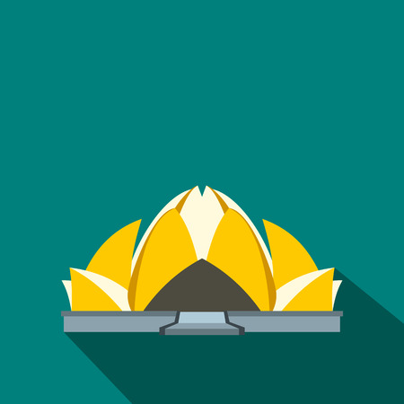 bahai: Lotus Temple, New Delhi icon in flat style on a blue background