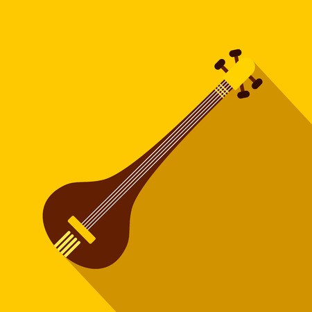 shankar: Traditional Indian sarod icon in flat style on a yellow background