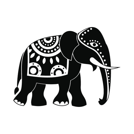 indian animal: Decorated elephant icon in simple style isolated on white background Illustration