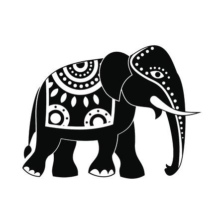 indische muster: Dekoriert Elefanten-Symbol im einfachen Stil isoliert auf wei�em Hintergrund