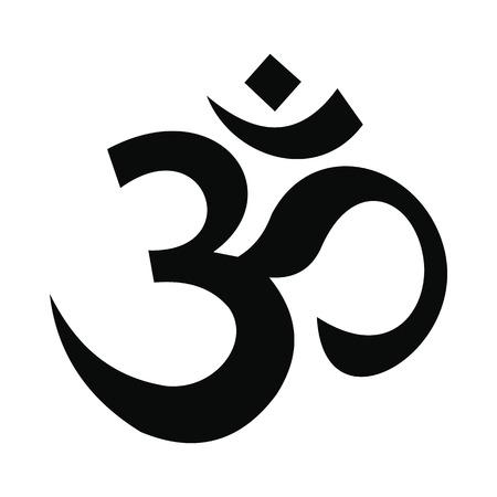 Hinduski ikona om symbol w prostym stylu na białym tle Ilustracje wektorowe