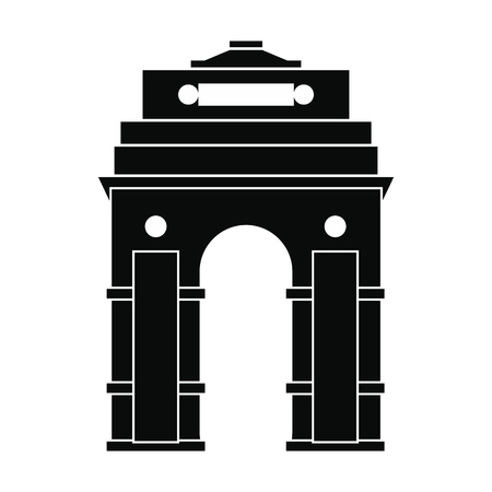 india gate: India Gate, New Delhi, India icon in simple style isolated on white background