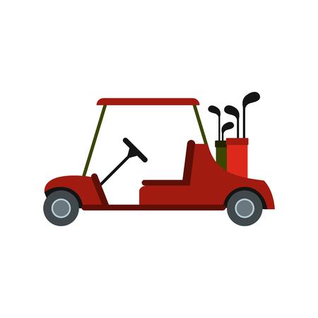 Rode golf auto icoon in vlakke stijl op een witte achtergrond Vector Illustratie