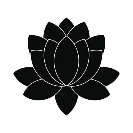 simple purity flowers: Blue lotus flower icon in simple style isolated on white background Illustration