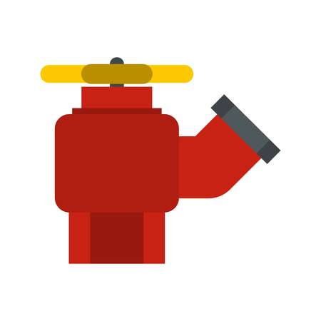 fire plug: Fire hydrant with valve icon in flat style isolated on white background