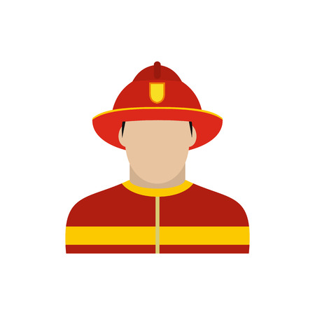 fireman: Fireman icon in flat style isolated on white background