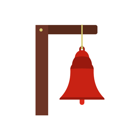 to chime: Alarm bell icon in flat style isolated on white background