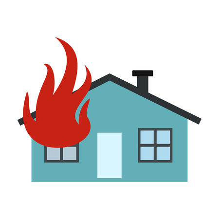 total loss: House on fire icon in flat style isolated on white background