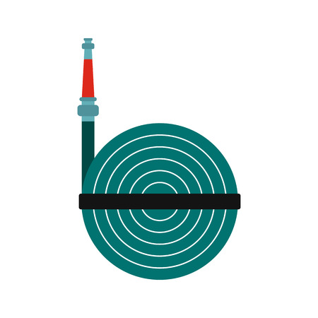winder: Fire hose winder roll reels icon in flat style isolated on white background