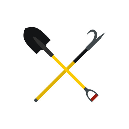 Shovel and scrap icon in flat style isolated on white background Illustration