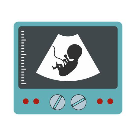 Ultrasound foetus icoon in vlakke stijl op een witte achtergrond