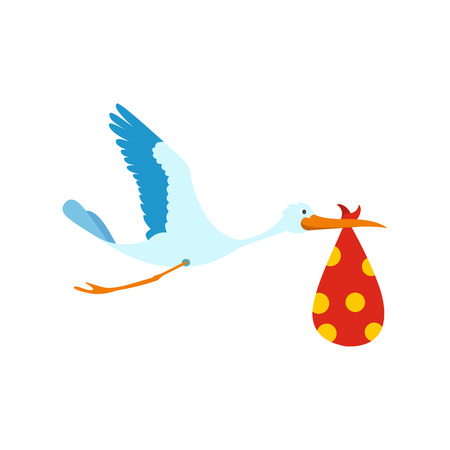 stork flying with bundle: Flying stork with a bundle icon in flat style isolated on white background Illustration
