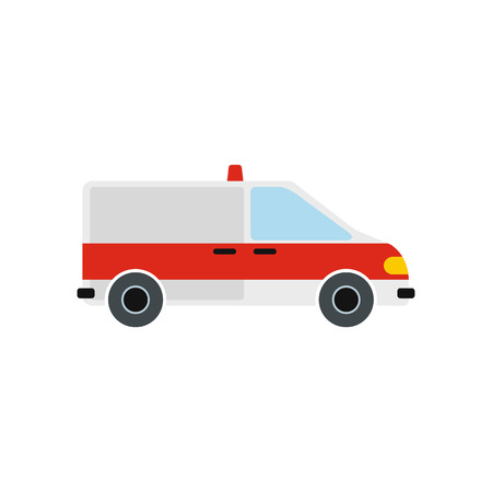 disaster relief: Ambulance car icon in flat style isolated on white background