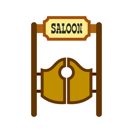 saloon: Old western swinging saloon doors icon in flat style isolated on white background