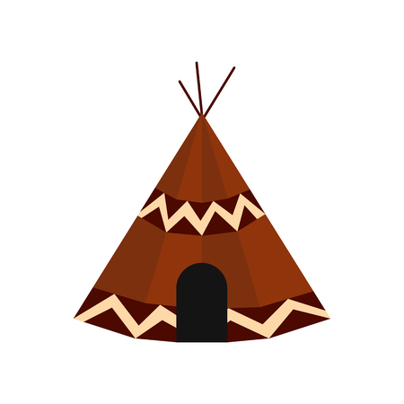 tepee: Indian tent icon in flat style isolated on white background