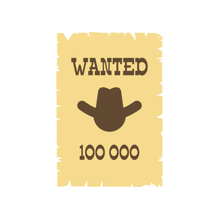lawman: Vintage wanted poster icon in flat style isolated on white background