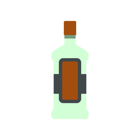scotch whisky: A bottle of alcohol and a glass icon in flat style isolated on white background