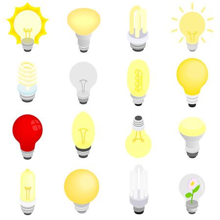 bombilla: Iconos de bombillas de luz en 3D isométrica estilo aislados en blanco