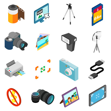 photography icons: Photography icons set in isometric 3d style isolated on white