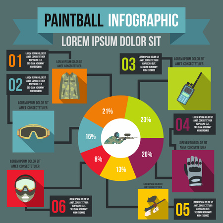 paintball: Paintball infographic in flat style for any design Illustration